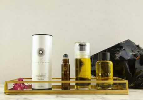Gamme des produits wesak paris obsidienne: élixir lunaire parfum neutre 50ml et recharge 50ml élixirs lunaires