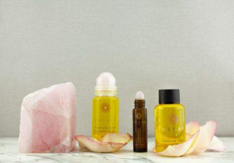 Gamme des produits wesak paris quartz rose: élixir lunaire parfum rose 50ml et recharge 50ml élixirs lunaires