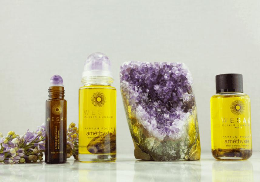 Elixir lunaire wesak paris parfum poudré 50ml avec roll-on améthyste et pierre gemme d'améthyste infusée.