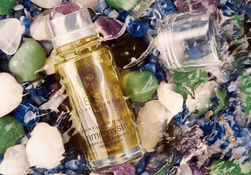 Elixir lunaire améthyste wesak paris 50ml parfum poudré avec roll-on pierre améthyste et pierre gemme d'améthyste infusée
