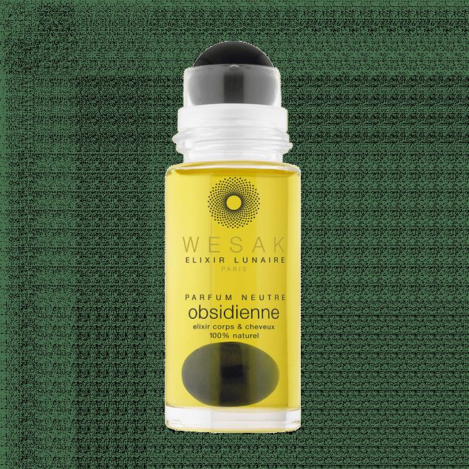 Elixir lunaire wesak paris 50ml obsidienne parfum neutre avec roll-on obsidiennee et pierre gemme d'obsidienne infusée