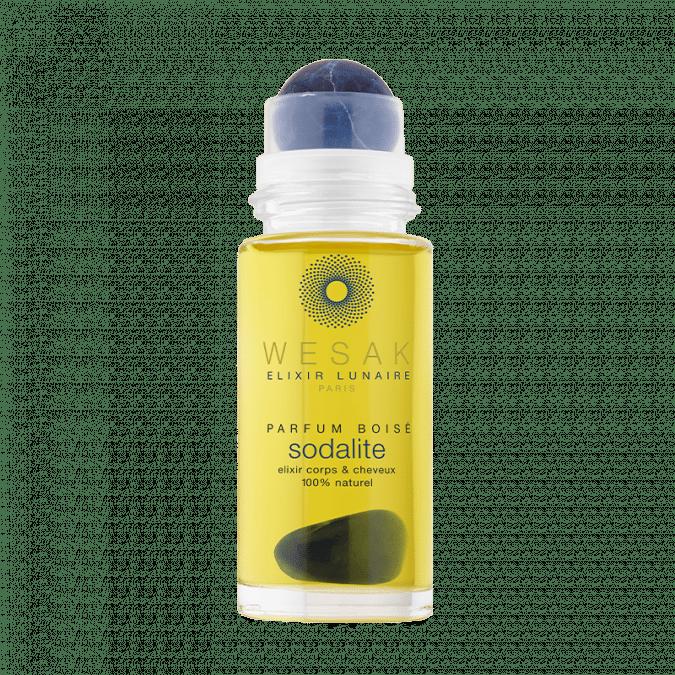 Elixir lunaire wesak paris 50ml sodalite parfum boisé avec roll-on sodalite et pierre gemme de sodalite infusée